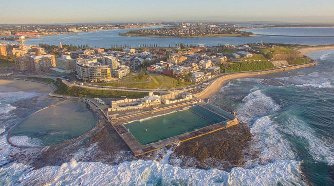 Aerial shot of Newcastle Baths, NSW, Australia at Sunrise